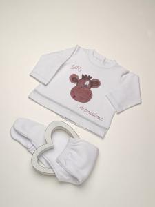 Conjunto Camiseta bebé batista básica mono + pelele