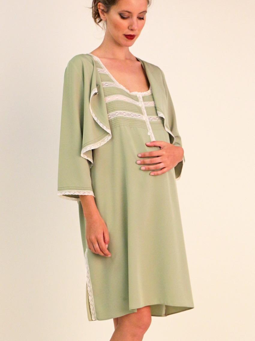 Conjunto Camisón  y mangas elegante maternal lenceria maternal Exclusiva