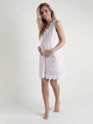 Camisón maternal batista abierto en hombro